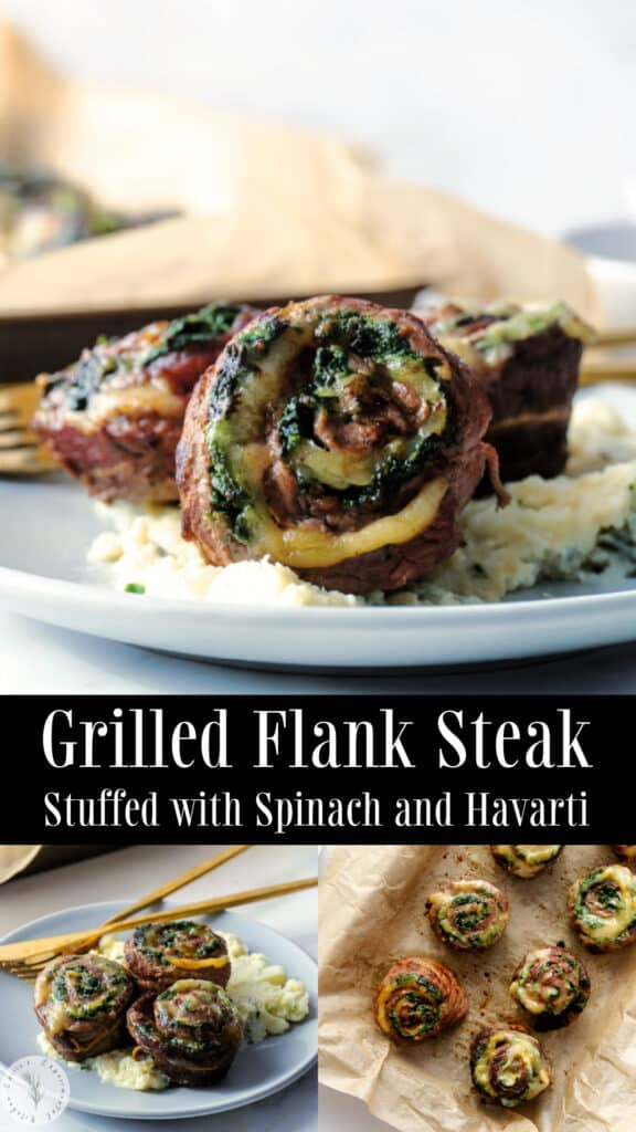 Grilled Flank Steak Stuffed with Spinach and Havarti collage photo