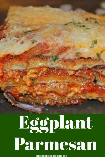 Eggplant Parmesan with Marinara Sauce made with sliced, breaded and fried eggplant layered with my favorite tomato sauce and shredded mozzarella cheese is my idea of ultimate comfort food.