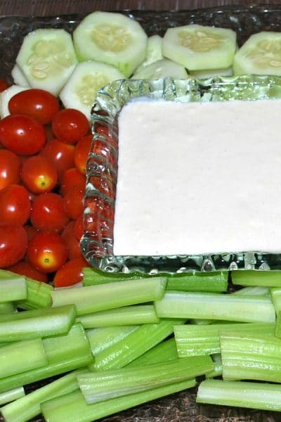 This Garlic and Cheese Crudite Dip is a quick favorite of ours and made with mayonnaise, grated Pecorino Romano cheese and Dijon mustard. It also tastes great on top of your favorite salad.  #dip #crudite
