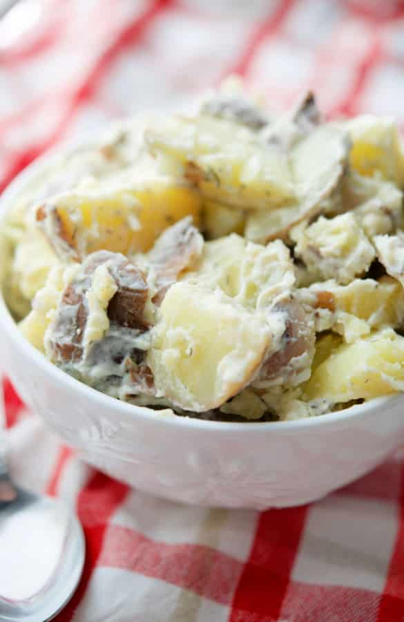 Red Bliss Dill Potato Salad is super creamy and made with red bliss, skin on potatoes, mayonnaise, and fresh dill
