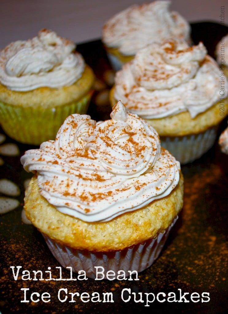 Vanilla Bean Ice Cream Cupcakes   Carrie's Experimental Kitchen #icecream #cupcakes #dessert