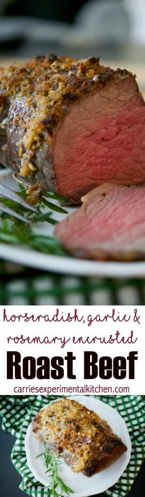 Roast Beef topped with a mixture of horseradish, garlic, and fresh rosemary is the perfect meal for a Sunday afternoon.  #beef #roastbeef #sundaydinner #dinnertime #Horseradish