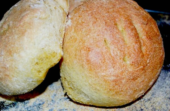This Rosemary Semolina Boule Bread makes the perfect bread bowl for your favorite soup.