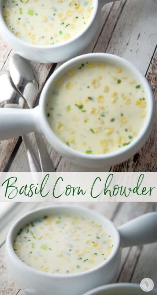 Basil Corn Chowder made with corn, potatoes and fresh basil in a creamy broth based soup is deliciously flavorful and perfect for lunch or dinner.