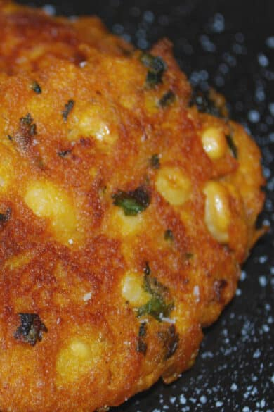 Pumpkin Chick Pea Fritters made with pumpkin puree, chick peas and sage make a tasty Fall side dish.