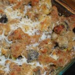 Roasted eggplant, leeks and mushrooms combined with Italian sausage, breadcrumbs and Asiago cheese; then baked until golden brown.