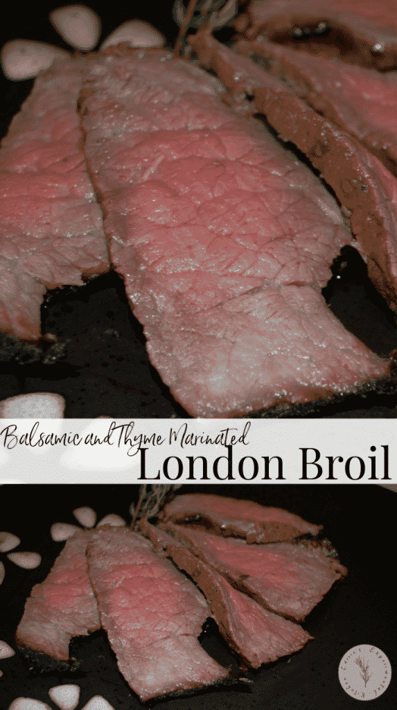 Grilled London broil steak marinated in balsamic vinegar, white wine, oil, garlic powder and fresh thyme is deliciously flavorful and tender.