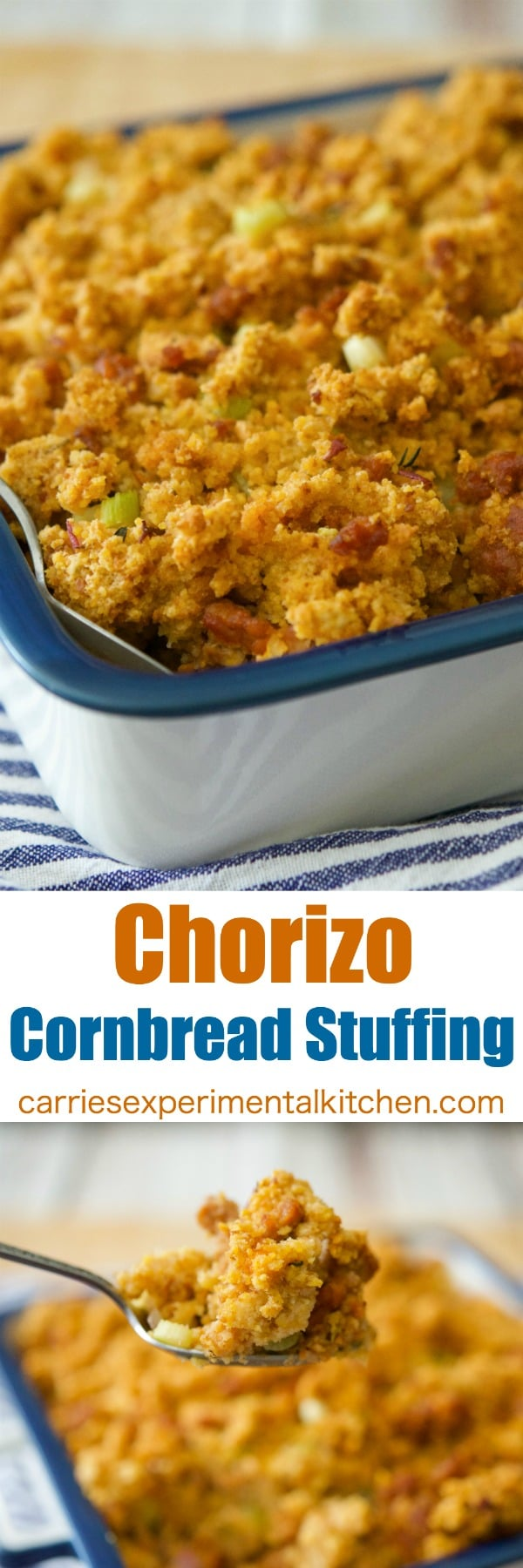 Chorizo Cornbread Stuffing is a deliciously easy stuffing that can be made throughout the year. Serve as a weeknight side dish or on your Thanksgiving table.