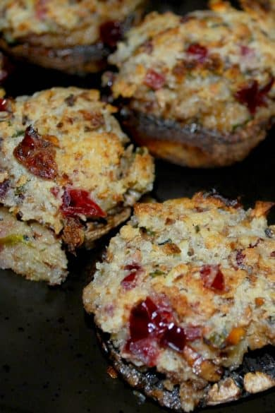 Portabella mushrooms stuffed with a mixture of dried cranberries, fresh rosemary, garlic, cream cheese and Panko breadcrumbs make a tasty Fall appetizer.