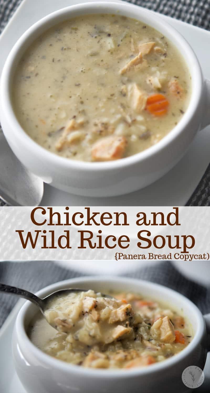 Faites une de vos soupes de restaurant préférées à la maison n'importe quel jour de la semaine avec cette version de soupe au poulet et riz sauvage;  une recette de copieur Panera Bread.