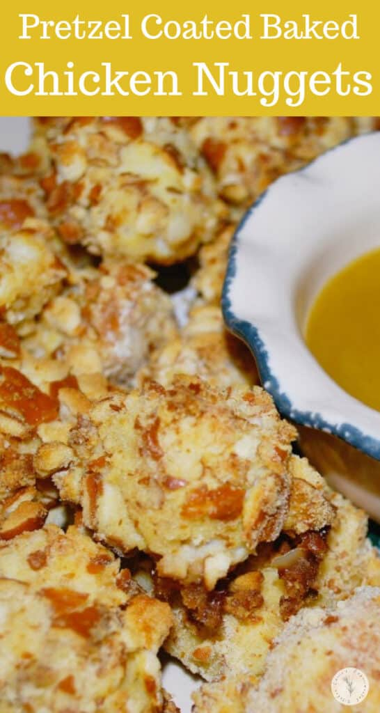 Boneless diced chicken breasts coated with a crunchy pretzel crust; then baked and served with a honey mustard dipping sauce.
