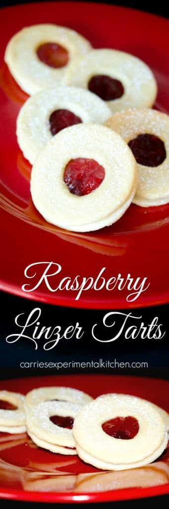 Raspberry Linzer Tarts are one of our favorite holiday treats and are made with two buttery cookies filled with tart raspberry preserves.