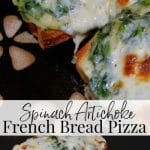 If you're looking for a quick and easy weeknight meal, these Spinach Artichoke French Bread Pizza's are it. You can also use the topping as a dip for snacking too!