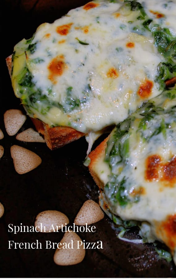 If you're looking for a quick weeknight meal, these Spinach Artichoke French Bread Pizza's are it. You can also use the topping as a dip for snacking too!