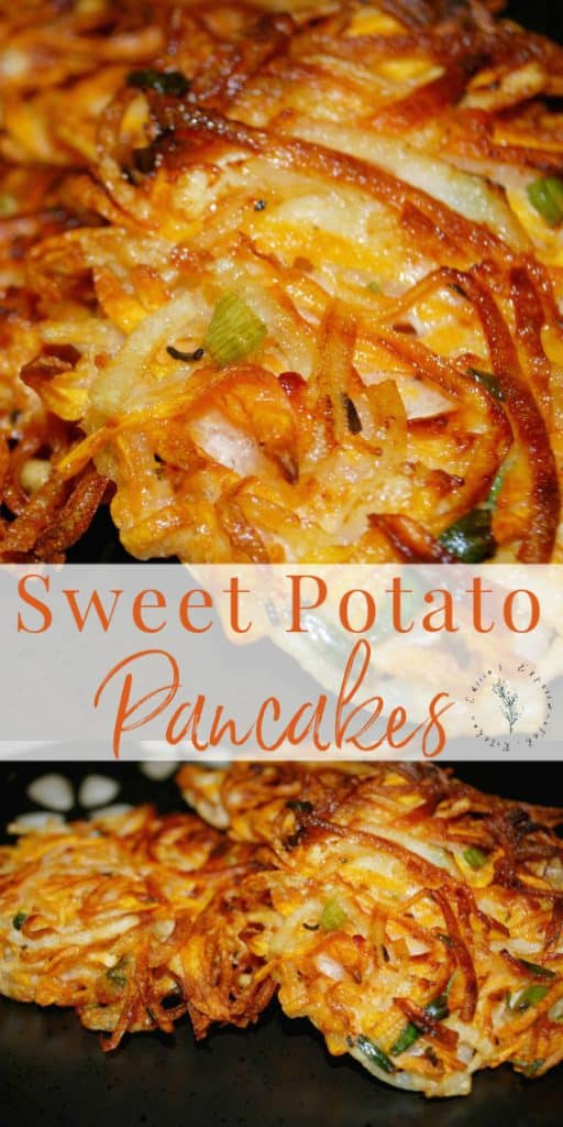These Sweet Potato Pancakesare made with sweet and russet potatoes, fresh rosemary and chopped scallions. They make a delicious side dish for weeknight dinners or special holidays.
