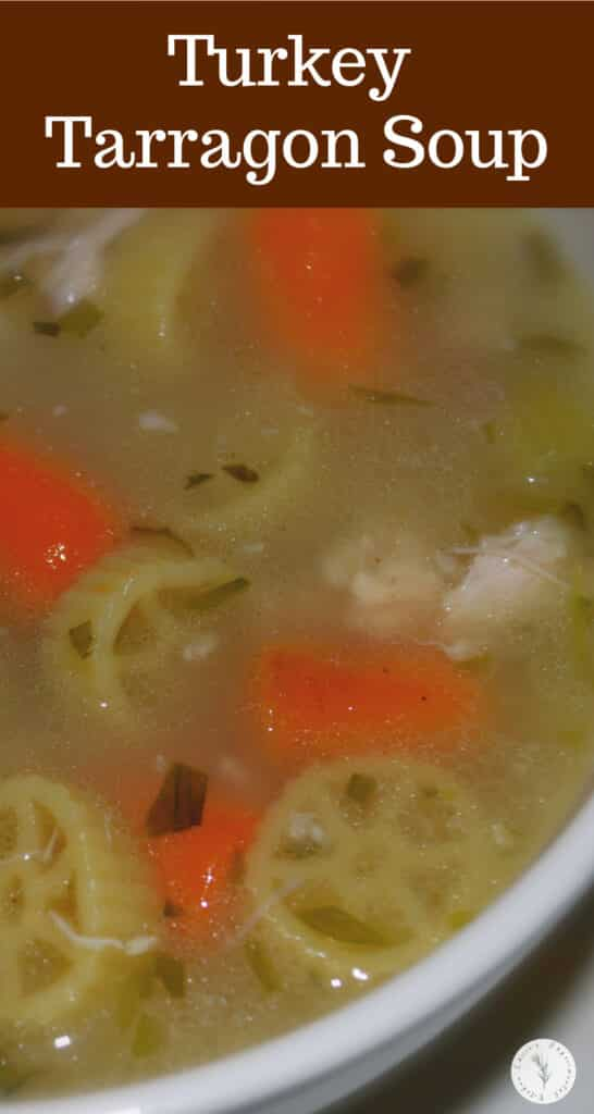 Utilize leftover Thanksgiving turkey to make this tasty, Turkey Tarragon Soup made using the carcass, vegetables and fresh tarragon.
