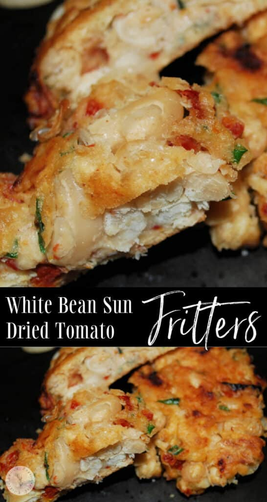 These fritters made with white Cannellini beans, sun dried tomatoes, basil and garlic make a delicious side dish.