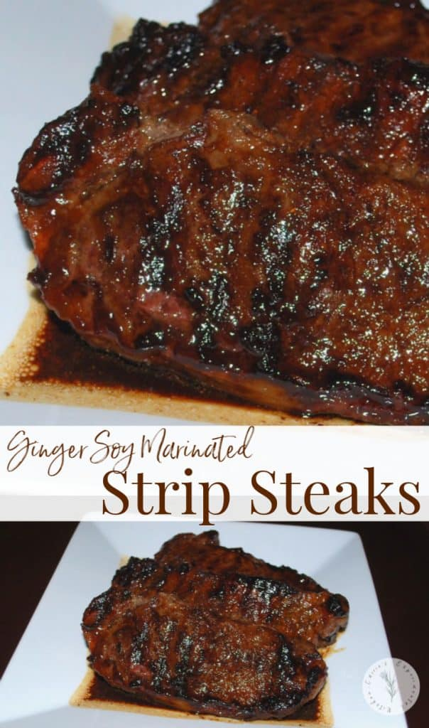 Strip steaks marinated in fresh ginger, soy sauce, honey and garlic; then grilled until juicy, tender and delicious are super flavorful.