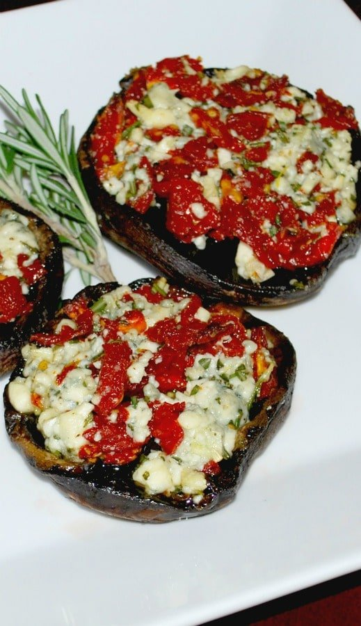 Portobello mushrooms stuffed with crumbled Gorgonzola cheese, sun dried tomatoes, garlic and fresh rosemary make a delicious appetizer or meatless meal.