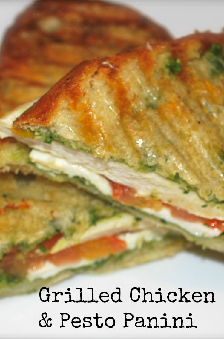 This Grilled Chicken Panini with Classic Pesto made with panella Italian bread on my indoor griddle is one of my family's favorite weeknight meals.