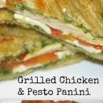 This Grilled Chicken & Pesto Panini made with panella Italian bread on my indoor griddle is one of my family's favorite weeknight meals.