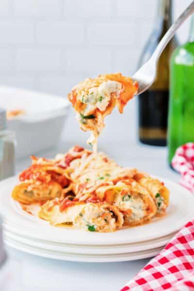 Manicotti on a fork