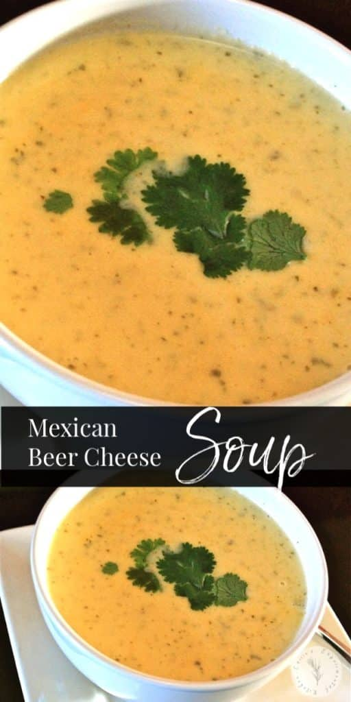 Mexican Beer Cheese Soup made with Corona beer, cilantro, lime and shredded Cheddar, Monterey Jack, Queso Quesadilla and Asadero Cheeses.