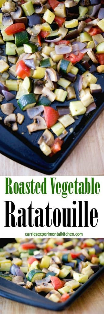 Roasted Vegetable Ratatouille made with fresh eggplant, zucchini, yellow squash, mushrooms, onions and tomatoes.