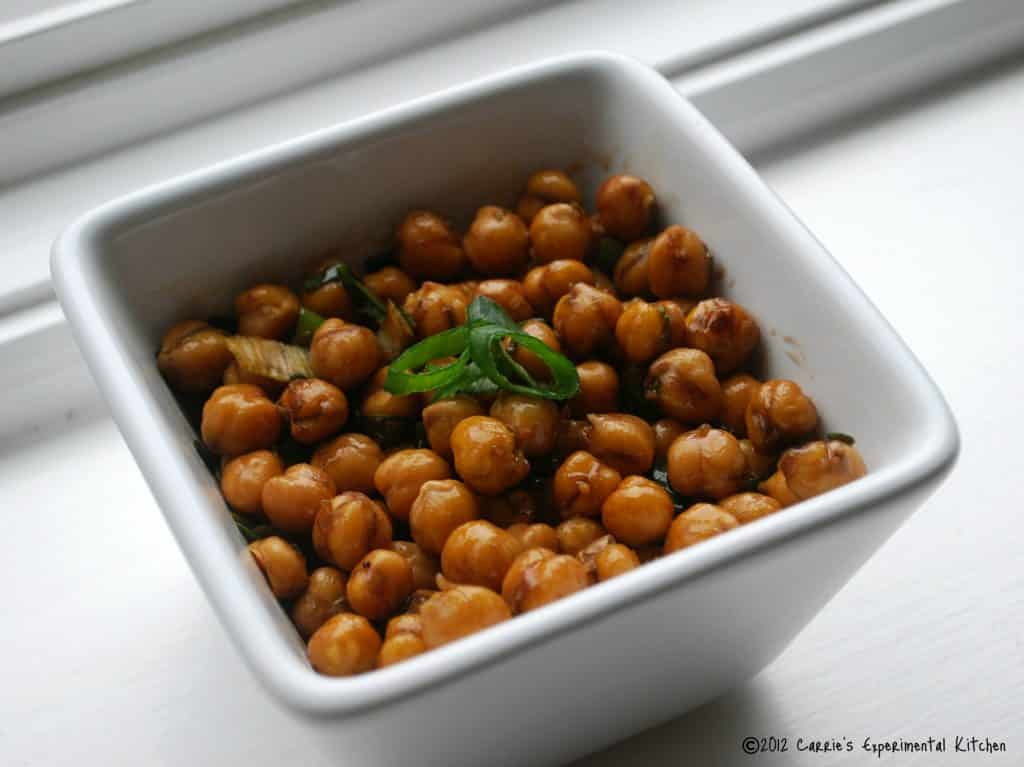 Roasted Chick Peas in white bowl