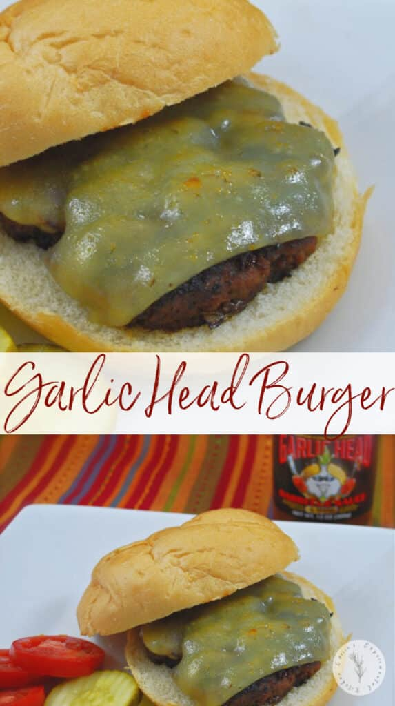 This burger made with Garlic Head Gold BBQ Sauce, mushrooms and scallions topped with Havarti cheese is juicy and flavorful.