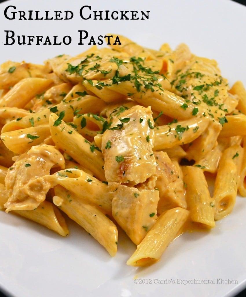 Grilled Chicken Buffalo Pasta | Carrie's Experimental Kitchen #pasta #mooresmarinade #chicken