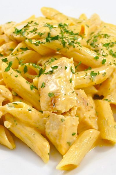 Grilled Chicken Buffalo Pasta made with four ingredients, including Moore's Buffalo Wing Sauce, is delicious and simple to make.