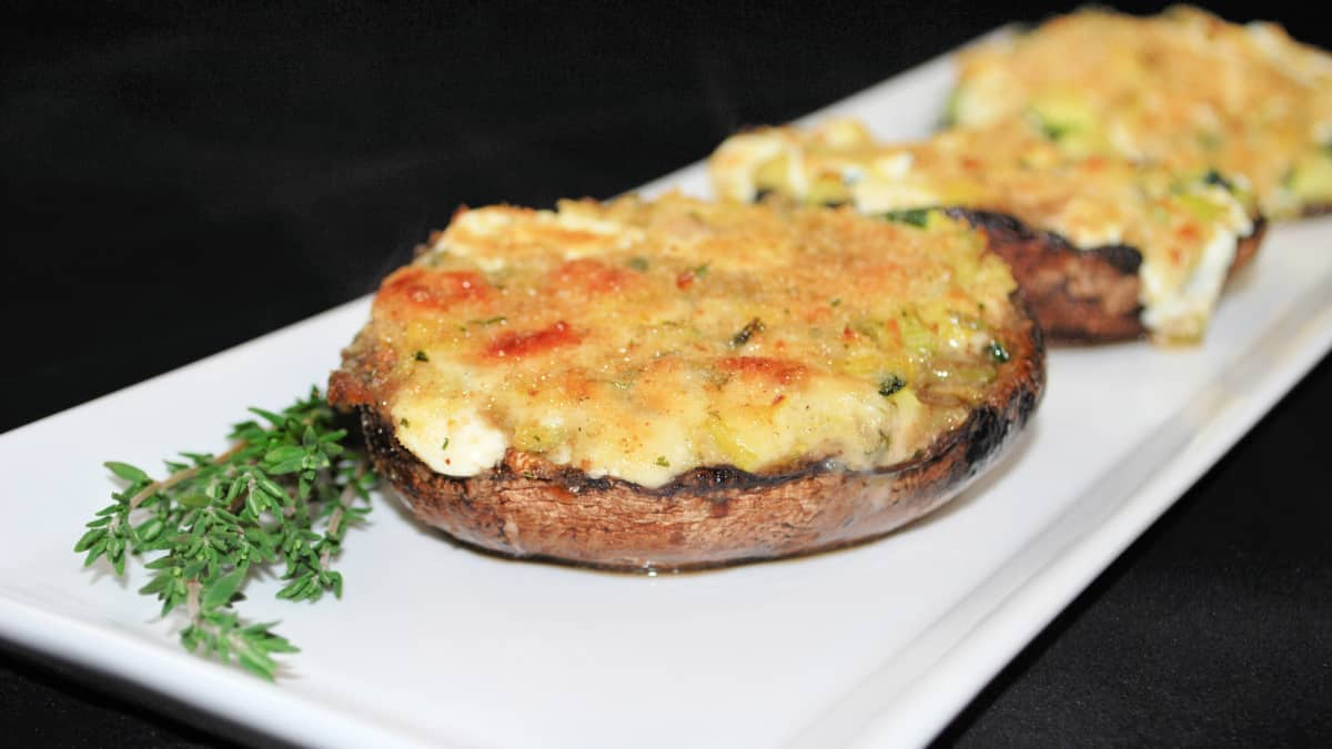 Three Cheese Zucchini Stuffed Portobello Mushrooms