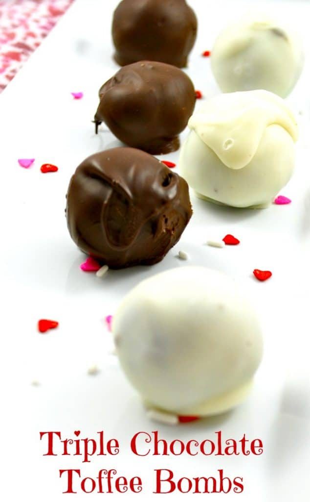Triple chocolate cake mix combined with cream cheese and toffee bits; then dipped in chocolate. Perfect for your special Valentine!