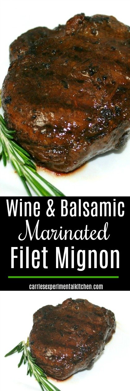 Wine & Balsamic Marinated Filet Mignon made with dry red wine, mustard, balsamic vinegar and fresh rosemary is an easy marinade that's perfect for rich meats like beef. #beef #grilling #wine