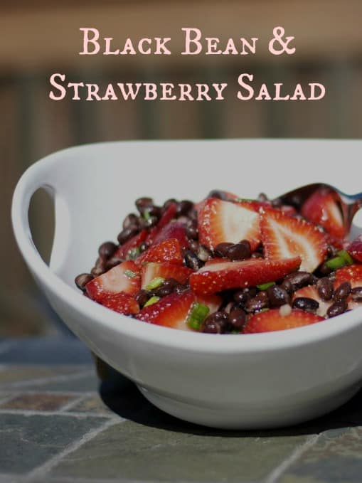This Black Bean & Strawberry Salad made with fresh rosemary and lime juice is light and refreshing.