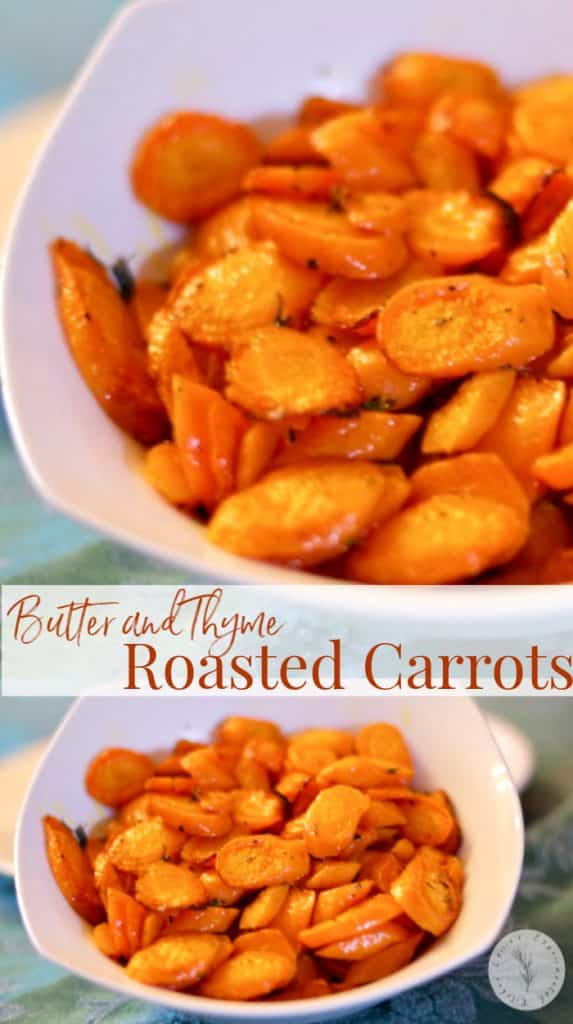 Carrots sliced diagonally tossed with fresh thyme, butter, Kosher salt and fresh black pepper; then roasted until caramelized.