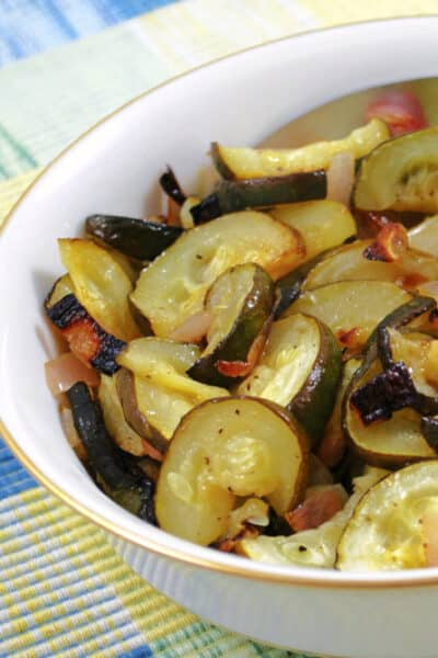 Lime Roasted Zucchini Shallots in a bowl