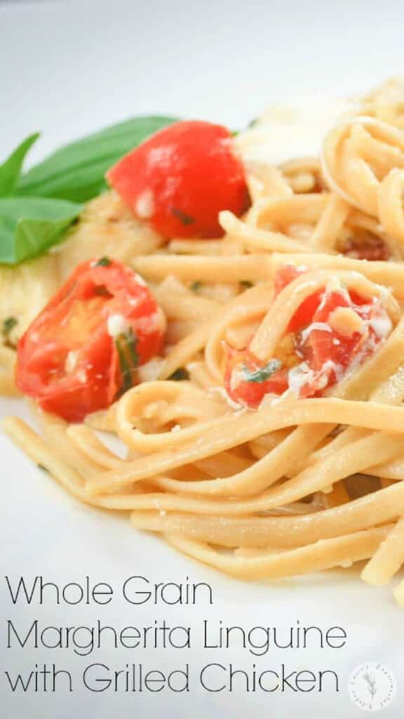 Whole grain linguine pasta tossed with creamy fresh mozzarella, grape tomatoes, basil and grilled chicken.