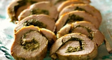 Spinach, Mushroom & Goat Cheese Stuffed Pork Loin