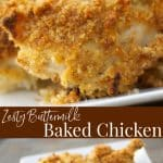 Make your fried chicken a little healthier with this Zesty Buttermilk Baked Chicken by adding a little Italian dressing mix and baking instead of frying.