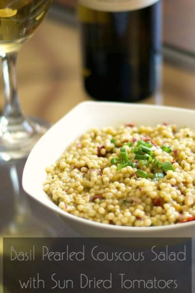 Basil Pearled Couscous Salad with Sun Dried Tomatoes | Carrie's Experimental Kitchen