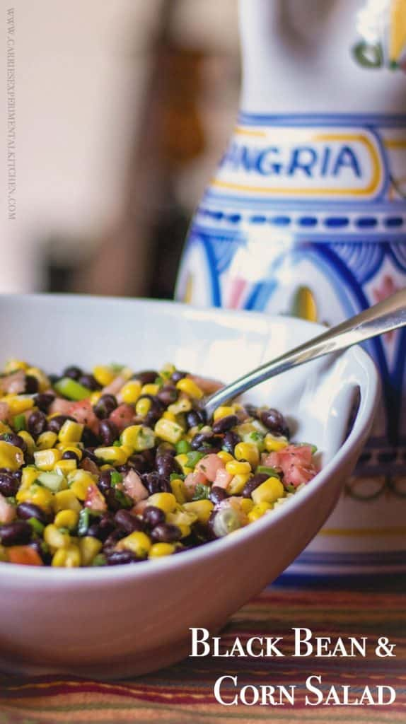 This Black Bean & Corn Salad made with fresh Jersey corn, tomatoes, lime juice and cilantro makes the perfect side salad for your picnic.