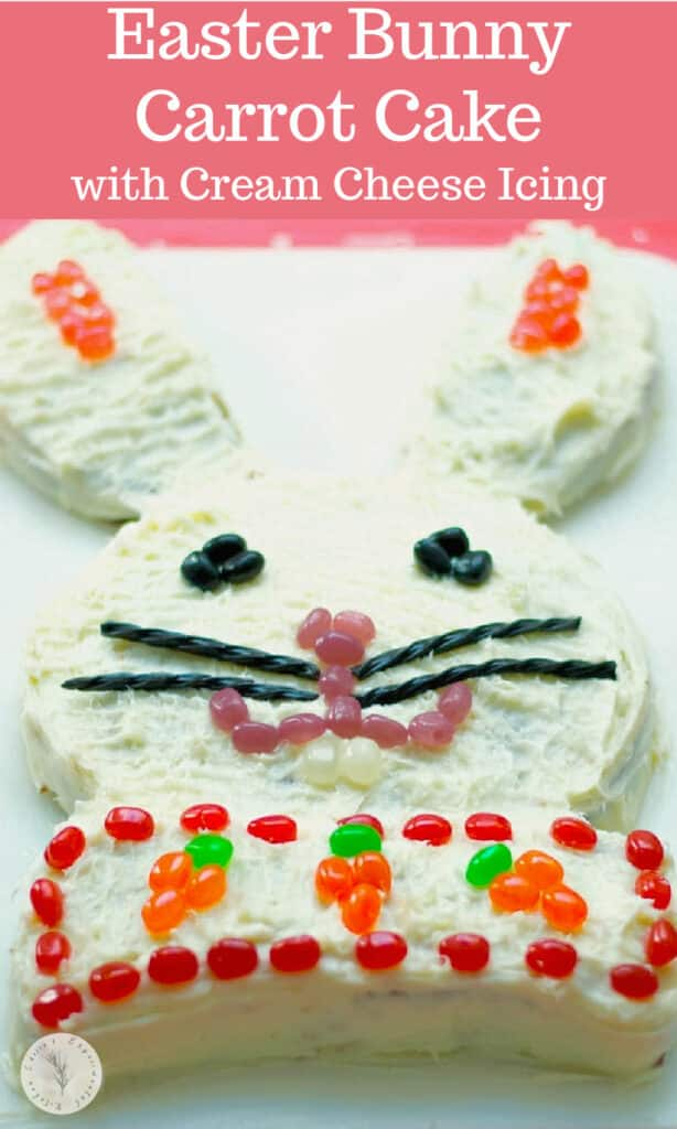 Easter Bunny Cake made with boxed carrot cake and homemade cream cheese icing; then decorated with your favorite candy.
