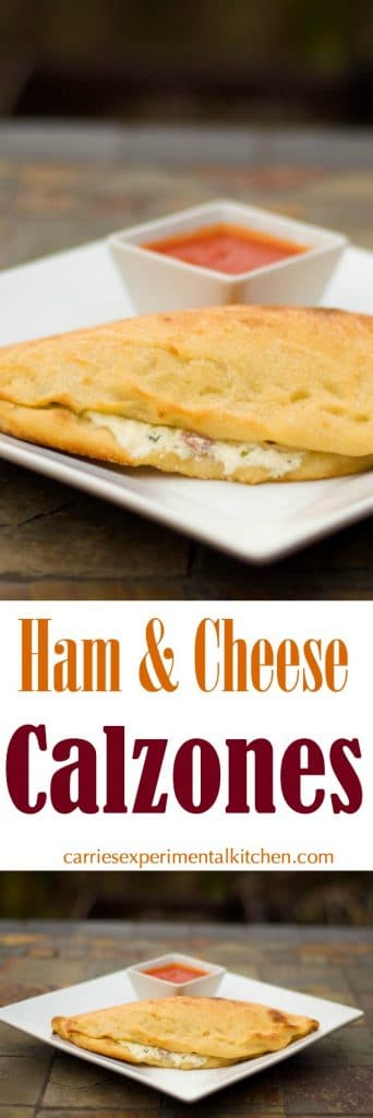 These Ham & Cheese Calzones made with diced ham, ricotta and mozzarella cheeses; then stuffed inside pizza dough are delicious and so easy to make at home.