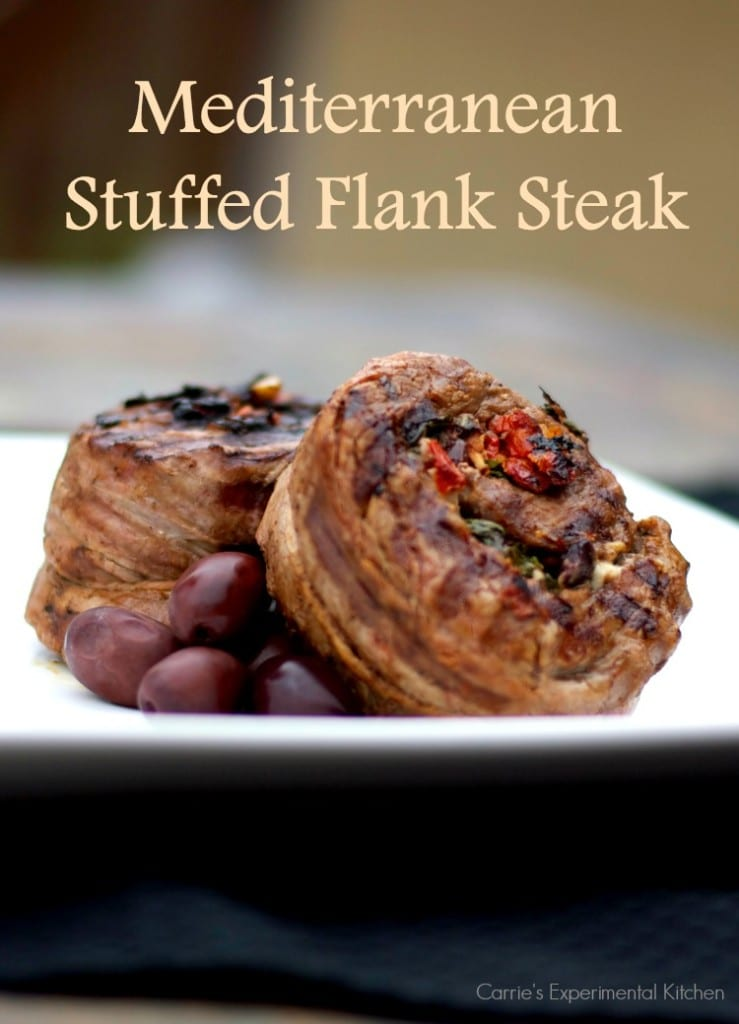 Mediterranean Stuffed Flank Steak | Carrie's Experimental Kitchen #beef Tender flank steak stuffed with Kalamata olives, sun dried tomatoes, garlic, basil and feta cheese; then grilled to perfection.
