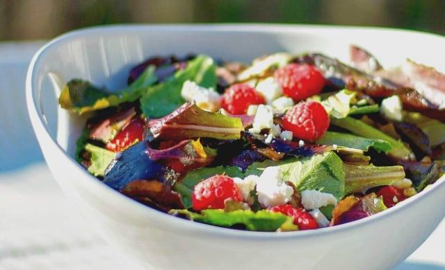 Mixed Green Salad in a Raspberry Vinaigrette