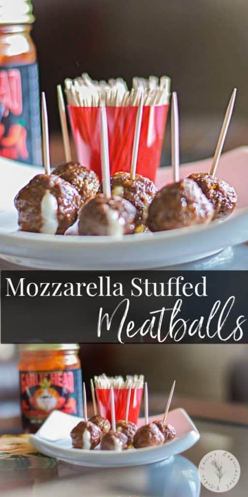 Spicy Mozzarella Stuffed Meatballs made with lean ground beef, Mozzarella sticks and your favorite spicy bbq sauce make a tasty appetizer or fun meal for the kids!