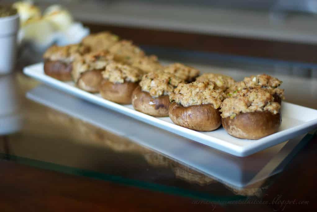sausage stuffed mushrooms on a plate