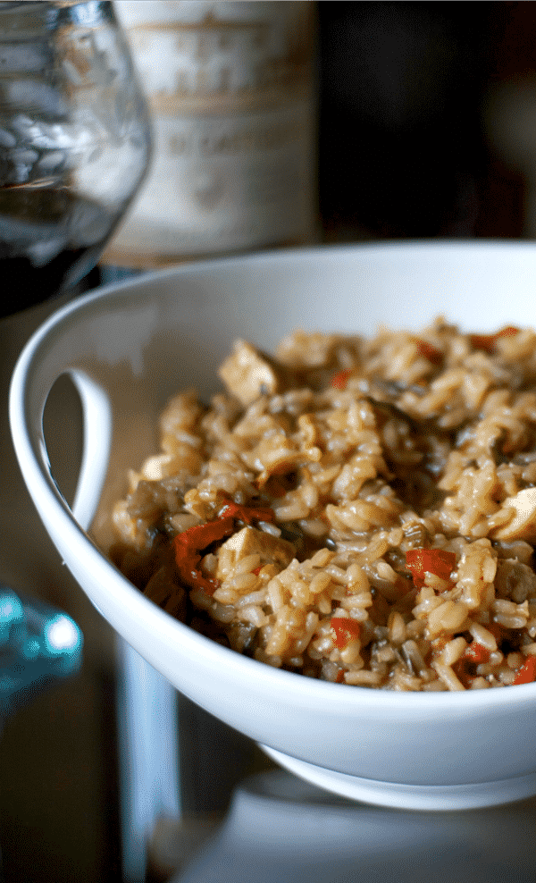 Balsamic Risotto with Grilled Chicken, Fresh Spinach & Sun Dried Tomatoes is so flavorful and substantial, you can make this for a quick weeknight meal or serve as a side dish.